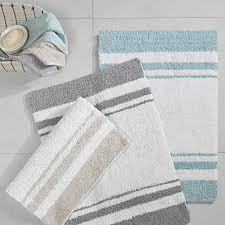 deal madison park spa reversible cotton bath rug grey 20 w x 30 l striped water absorbent fast drying bath mats feels fluffy