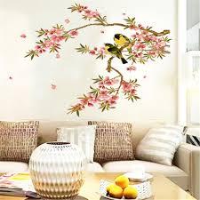 bird flower tree branch wall decal