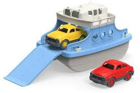 green toys ferry boat with mini cars bathtub toy blue white at the nile