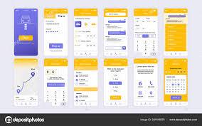 Ux Flat Design Set Of Ui Ux Gui Screens Delivery App Flat Design Template