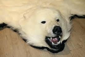 polar bear rug faux fur with head