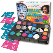 blue squid face paint kit 14 color 30 stencils 4 professional sponges