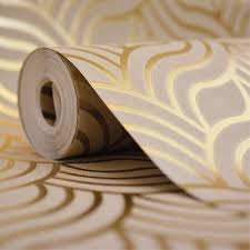 art deco gold metallic wallpaper