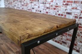 reclaimed industrial rustic pine metal steel dining kitchen table