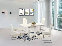 white high gloss extending dining table and 6 chairs homegenies new white high gloss extending dining