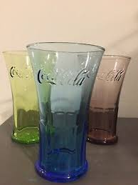 mcdonalds e coca cola glasses x3 yellow blue red