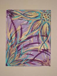 girly purple and gold canvas painting