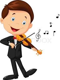 playing cartoon vector illustration of little boy cartoon playing violin stock