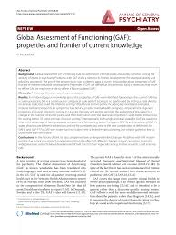 Pdf Global Assessment Of Functioning Gaf Properties And