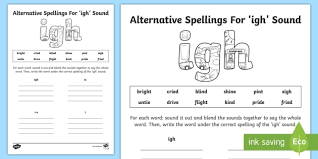 Choose the word that has a particular sound. Alternative Spelling For Igh Sound Worksheet Teacher Made