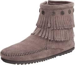 Minnetonka Double Fringe Side Zip Boot Womens Boots