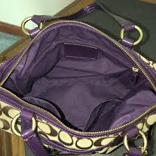 Coach Satchel in purple and brown. 12345678910