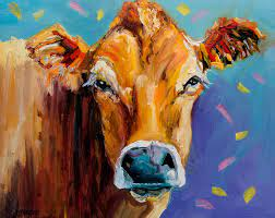 Party Cow Painting by Diane Whitehead