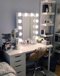 l o v e vanity station it s illuminating this vanity station features our and ikea linnmon table top alex drawers and lack shelves