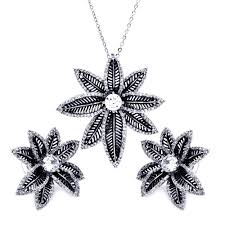 925 sterling silver rhodium plated spiny flower clear cubic zirconia stud earring necklace set 18 inches tenbywhen