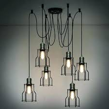 light creative industrial ceiling lights 6 head wire cage chandelier pendant flush mount light lighting