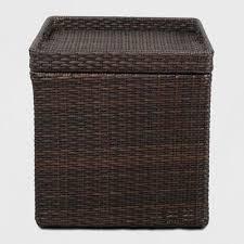 wicker storage patio accent table