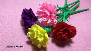 Paper Carnation Flower How To Make Diy Carnation Flower With Crepe Paper Easy Fast
