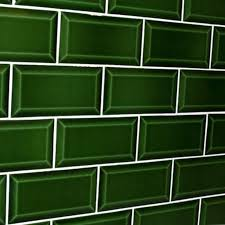 Green Bevelled Subway Tile