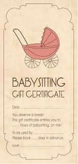 babysitting certificates template for baby sitting gift certificate babyshower