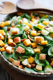 Spinach Salad With Apple Cheddar And Smoked Almonds