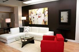 beautiful wall art decor ideas for contemporary living featuring white sofa with lounge and red chair