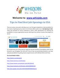 Best Job Portal In Usa Tips To Find Best Job Openings In Usa By Whiz Jobs Issuu
