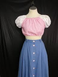 Pinup Vintage Cropped Peasant Blouse Pinup Girl Denim Skirt Gingham Check Top Vlv