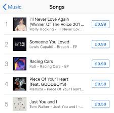 Itunes Top 10 Singles Chart The Voice Uk 2019 Winner Molly Hocking Hits Number One On