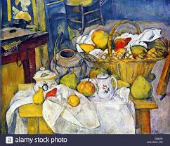 still life with basket of fruit the kitchen table 1888 1890 paul cezanne 1839 1906 french post impressionist artist