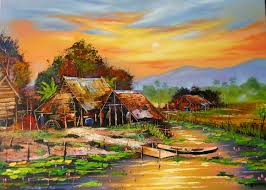 thai village landscape paintings บ าน ภาพวาด