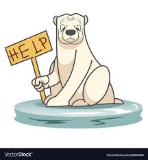 Polar Bear With A Help Sign Royalty Free Vector Image