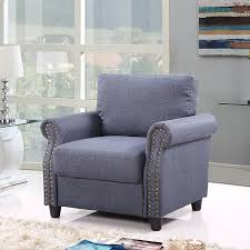 com classic living room linen armchair with nailhead trim and storage space blue kitchen dining