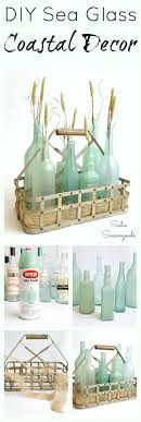 sea glass planters in a basket with sea glass ideas