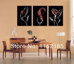 free black wine glasses abstract still life3 piece canvas wall art oil painting for dining room wall decoration