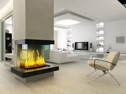 Contemporary fireplace with sleek unframed glass on three sides.