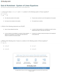 print system of linear equations definition examples worksheet