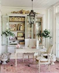 Shabby chic home office Country House Home Office Decorated With Shabby Chic Decor Including Hanging Lantern Over Desk Table Wearefound Home Design Home Office Decorated With Shabby Chic Decor Including Hanging