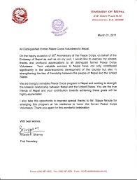 Embassy of Nepal Appreciation Letter to the Returned Peace Corps Volunteers From Nepal