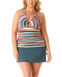 Anne Cole Bathing Suit Size Chart Plus Size Sand Stripe Printed Underwire Tankini Top Swim Skirt