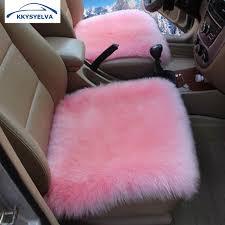 kkysyelva universal car seat cover pink winter auto wool driver seat cushion plush seat pad wool