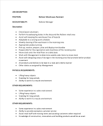 Assistant Warehouse Manager Job Description Warehouse Manager Job Description Under Fontanacountryinn Com