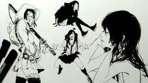 コピック女の子4人描いてみた 刀とか線画