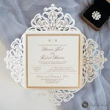 Romantic Ivory Laser Cut Wedding Invites With Glittery Bottom Cards And Belly Bands Swws116 Stylishwedd