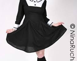 plus size wednesday addams costume goth loli dress etsy