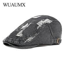 <b>Wuaumx Unisex Retro</b> Casual Mens Hats Denim Berets Hat Women ...