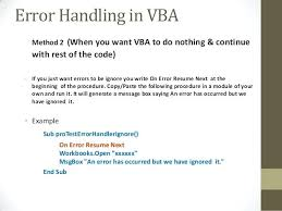 Vba On Error Resume Next