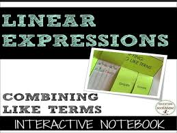 simplifying expressions by bining like terms interactive notebook