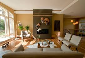 accent wall living room brown tile brick fireplace odern white sofa half brik walls round brown