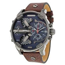 sel mr daddy dual time chronograph navy blue dial leather men s watch dz7314